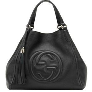 Authentic Gucci Hand Bag Soho 2WAY Black Leather